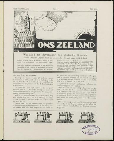 Ons Zeeland / Zeeuwsche editie 1926-05-01