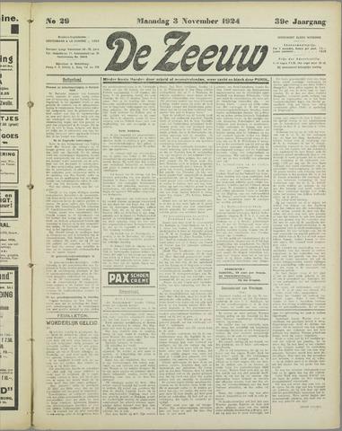De Zeeuw. Christelijk-historisch nieuwsblad voor Zeeland 1924-11-03