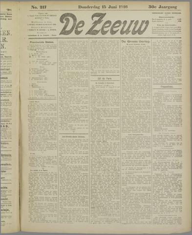De Zeeuw. Christelijk-historisch nieuwsblad voor Zeeland 1916-06-15