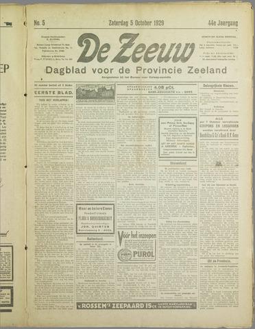 De Zeeuw. Christelijk-historisch nieuwsblad voor Zeeland 1929-10-05