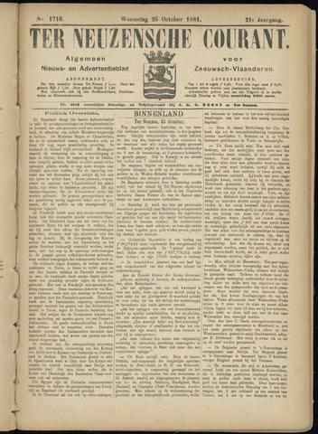 Ter Neuzensche Courant. Algemeen Nieuws- en Advertentieblad voor Zeeuwsch-Vlaanderen / Neuzensche Courant ... (idem) / (Algemeen) nieuws en advertentieblad voor Zeeuwsch-Vlaanderen 1881-10-26