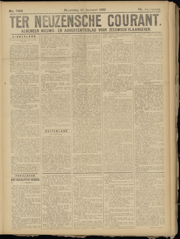 Ter Neuzensche Courant. Algemeen Nieuws- en Advertentieblad voor Zeeuwsch-Vlaanderen / Neuzensche Courant ... (idem) / (Algemeen) nieuws en advertentieblad voor Zeeuwsch-Vlaanderen 1923-01-29