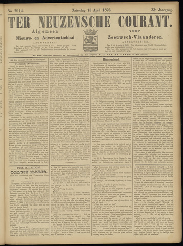 Ter Neuzensche Courant. Algemeen Nieuws- en Advertentieblad voor Zeeuwsch-Vlaanderen / Neuzensche Courant ... (idem) / (Algemeen) nieuws en advertentieblad voor Zeeuwsch-Vlaanderen 1893-04-15