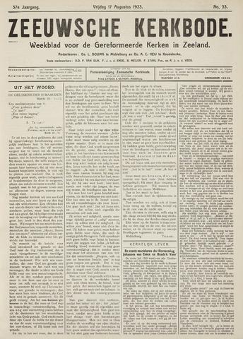 Zeeuwsche kerkbode, weekblad gewijd aan de belangen der gereformeerde kerken/ Zeeuwsch kerkblad 1923-08-17