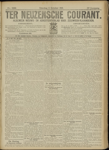 Ter Neuzensche Courant. Algemeen Nieuws- en Advertentieblad voor Zeeuwsch-Vlaanderen / Neuzensche Courant ... (idem) / (Algemeen) nieuws en advertentieblad voor Zeeuwsch-Vlaanderen 1915-10-05