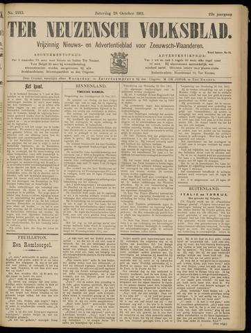 Ter Neuzensch Volksblad. Vrijzinnig nieuws- en advertentieblad voor Zeeuwsch- Vlaanderen / Zeeuwsch Nieuwsblad. Nieuws- en advertentieblad voor Zeeland 1911-10-28