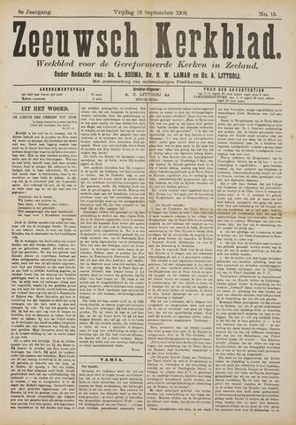 Zeeuwsche kerkbode, weekblad gewijd aan de belangen der gereformeerde kerken/ Zeeuwsch kerkblad 1908-09-18