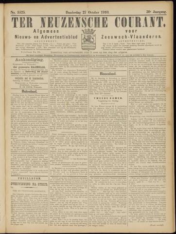 Ter Neuzensche Courant. Algemeen Nieuws- en Advertentieblad voor Zeeuwsch-Vlaanderen / Neuzensche Courant ... (idem) / (Algemeen) nieuws en advertentieblad voor Zeeuwsch-Vlaanderen 1910-10-27