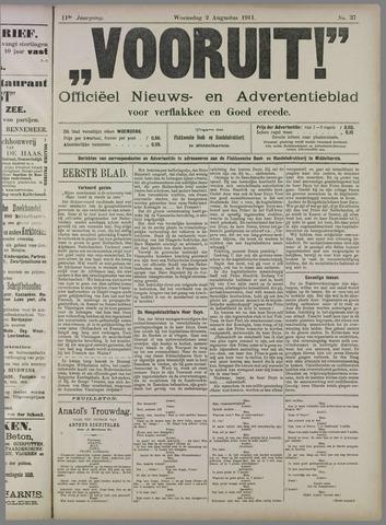 """""""Vooruit!""""Officieel Nieuws- en Advertentieblad voor Overflakkee en Goedereede 1911-08-02"""