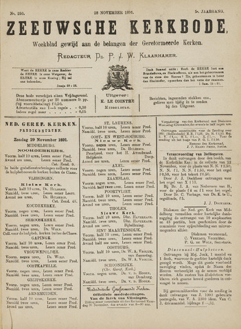 Zeeuwsche kerkbode, weekblad gewijd aan de belangen der gereformeerde kerken/ Zeeuwsch kerkblad 1891-11-28