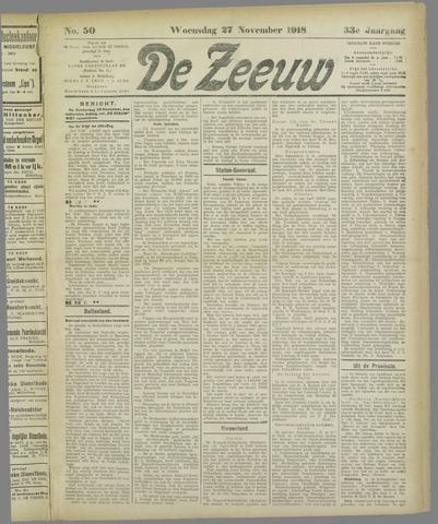De Zeeuw. Christelijk-historisch nieuwsblad voor Zeeland 1918-11-27