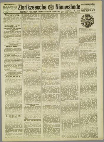 Zierikzeesche Nieuwsbode 1924-02-04