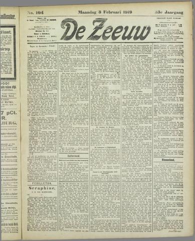 De Zeeuw. Christelijk-historisch nieuwsblad voor Zeeland 1919-02-03