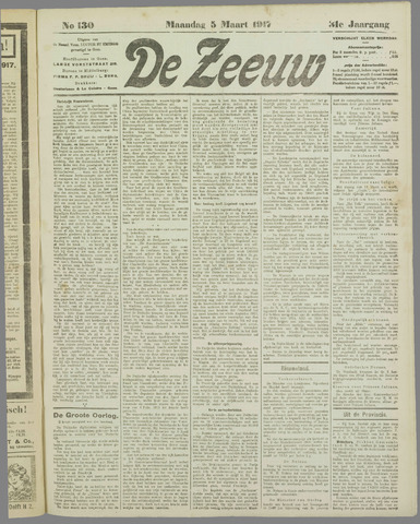 De Zeeuw. Christelijk-historisch nieuwsblad voor Zeeland 1917-03-05