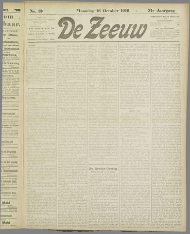 De Zeeuw. Christelijk-historisch nieuwsblad voor Zeeland 1916-10-16
