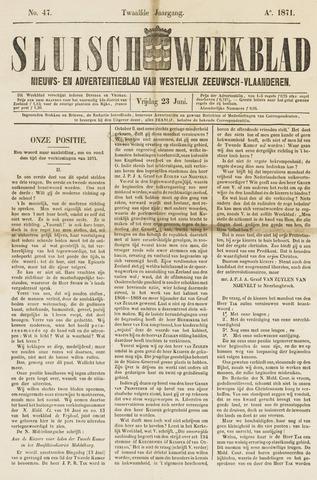 Sluisch Weekblad. Nieuws- en advertentieblad voor Westelijk Zeeuwsch-Vlaanderen 1871-06-23