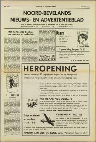 Noord-Bevelands Nieuws- en advertentieblad 1954-09-25