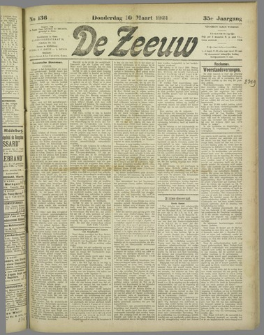 De Zeeuw. Christelijk-historisch nieuwsblad voor Zeeland 1921-03-10