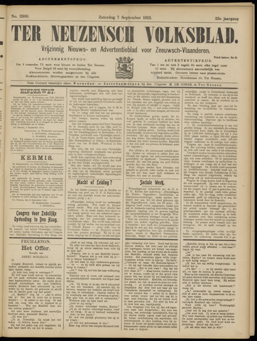Ter Neuzensch Volksblad. Vrijzinnig nieuws- en advertentieblad voor Zeeuwsch- Vlaanderen / Zeeuwsch Nieuwsblad. Nieuws- en advertentieblad voor Zeeland 1912-09-07