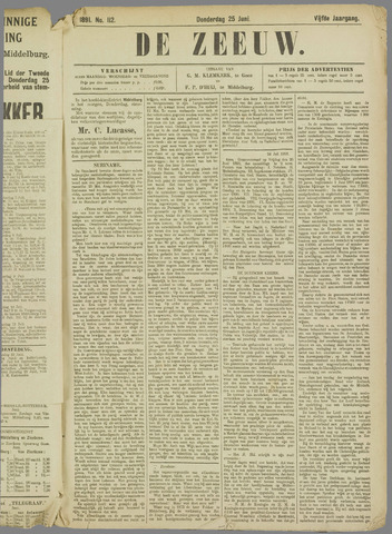 De Zeeuw. Christelijk-historisch nieuwsblad voor Zeeland 1891-06-25