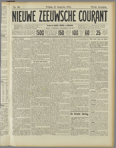 Nieuwe Zeeuwsche Courant 1914-08-21
