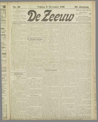 De Zeeuw. Christelijk-historisch nieuwsblad voor Zeeland 1916-11-03