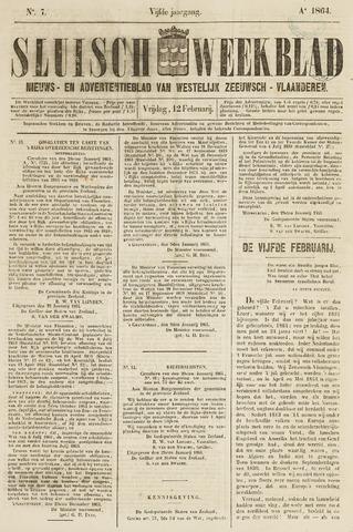 Sluisch Weekblad. Nieuws- en advertentieblad voor Westelijk Zeeuwsch-Vlaanderen 1864-02-12