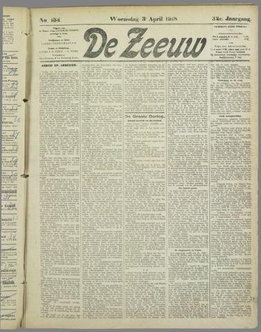 De Zeeuw. Christelijk-historisch nieuwsblad voor Zeeland 1918-04-03