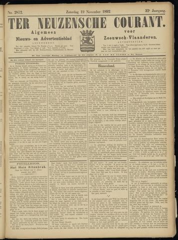 Ter Neuzensche Courant. Algemeen Nieuws- en Advertentieblad voor Zeeuwsch-Vlaanderen / Neuzensche Courant ... (idem) / (Algemeen) nieuws en advertentieblad voor Zeeuwsch-Vlaanderen 1892-11-19