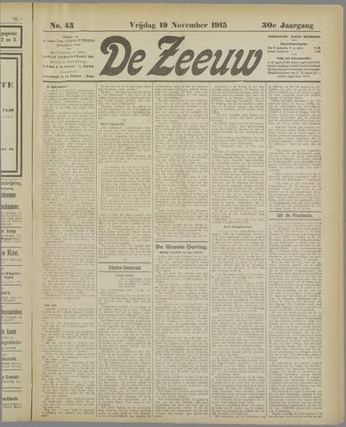 De Zeeuw. Christelijk-historisch nieuwsblad voor Zeeland 1915-11-19