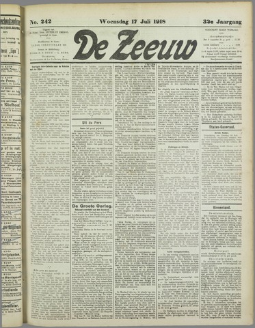 De Zeeuw. Christelijk-historisch nieuwsblad voor Zeeland 1918-07-17