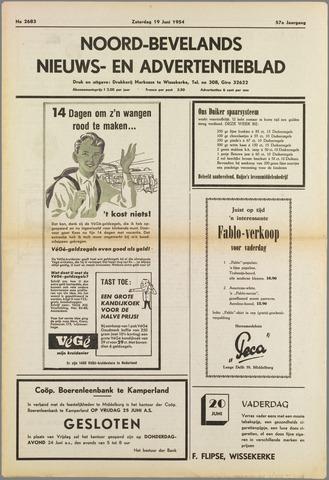 Noord-Bevelands Nieuws- en advertentieblad 1954-06-19