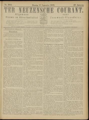 Ter Neuzensche Courant. Algemeen Nieuws- en Advertentieblad voor Zeeuwsch-Vlaanderen / Neuzensche Courant ... (idem) / (Algemeen) nieuws en advertentieblad voor Zeeuwsch-Vlaanderen 1912-09-17