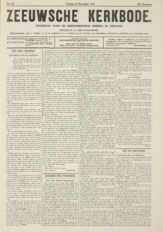 Zeeuwsche kerkbode, weekblad gewijd aan de belangen der gereformeerde kerken/ Zeeuwsch kerkblad 1935-11-15
