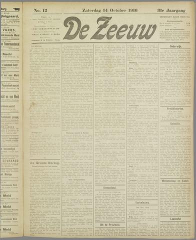 De Zeeuw. Christelijk-historisch nieuwsblad voor Zeeland 1916-10-14