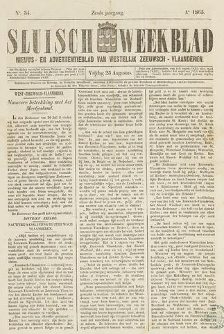 Sluisch Weekblad. Nieuws- en advertentieblad voor Westelijk Zeeuwsch-Vlaanderen 1865-08-25