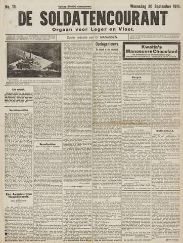 De Soldatencourant. Orgaan voor Leger en Vloot 1914-09-30