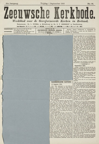 Zeeuwsche kerkbode, weekblad gewijd aan de belangen der gereformeerde kerken/ Zeeuwsch kerkblad 1916-09-01