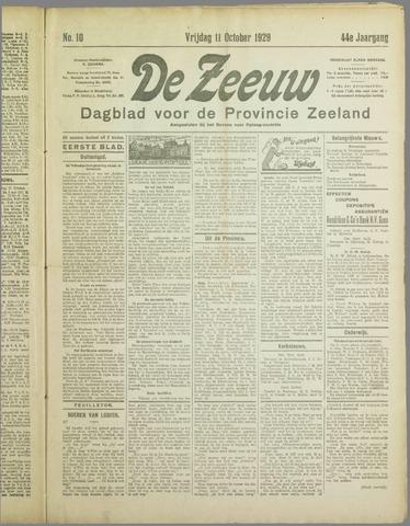 De Zeeuw. Christelijk-historisch nieuwsblad voor Zeeland 1929-10-11