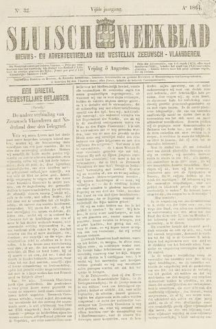 Sluisch Weekblad. Nieuws- en advertentieblad voor Westelijk Zeeuwsch-Vlaanderen 1864-08-05