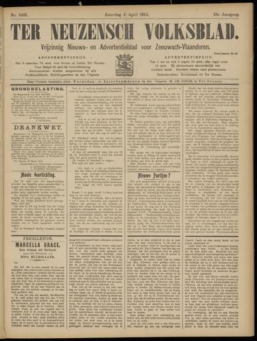 Ter Neuzensch Volksblad. Vrijzinnig nieuws- en advertentieblad voor Zeeuwsch- Vlaanderen / Zeeuwsch Nieuwsblad. Nieuws- en advertentieblad voor Zeeland 1914-04-04