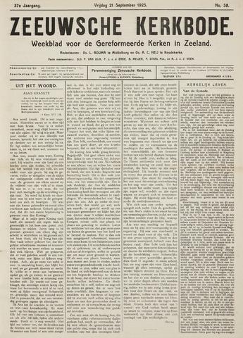 Zeeuwsche kerkbode, weekblad gewijd aan de belangen der gereformeerde kerken/ Zeeuwsch kerkblad 1923-09-21