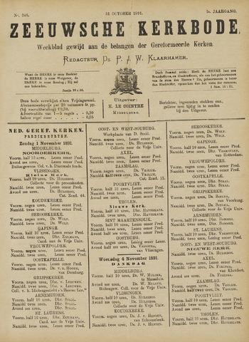 Zeeuwsche kerkbode, weekblad gewijd aan de belangen der gereformeerde kerken/ Zeeuwsch kerkblad 1891-10-31