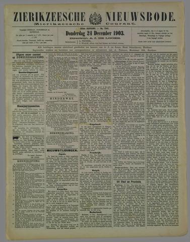 Zierikzeesche Nieuwsbode 1903-12-24