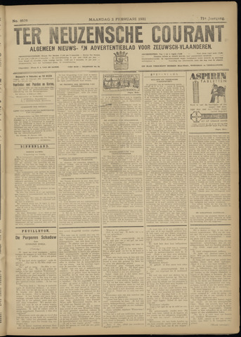 Ter Neuzensche Courant. Algemeen Nieuws- en Advertentieblad voor Zeeuwsch-Vlaanderen / Neuzensche Courant ... (idem) / (Algemeen) nieuws en advertentieblad voor Zeeuwsch-Vlaanderen 1931-02-02