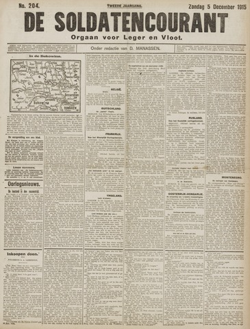 De Soldatencourant. Orgaan voor Leger en Vloot 1915-12-05