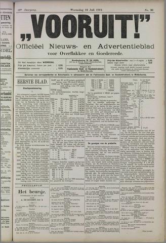 """""""Vooruit!""""Officieel Nieuws- en Advertentieblad voor Overflakkee en Goedereede 1912-07-24"""