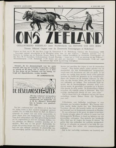Ons Zeeland / Zeeuwsche editie 1927-01-08