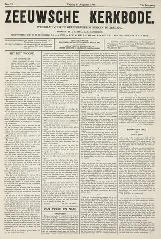 Zeeuwsche kerkbode, weekblad gewijd aan de belangen der gereformeerde kerken/ Zeeuwsch kerkblad 1939-08-11