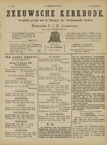 Zeeuwsche kerkbode, weekblad gewijd aan de belangen der gereformeerde kerken/ Zeeuwsch kerkblad 1890-02-22